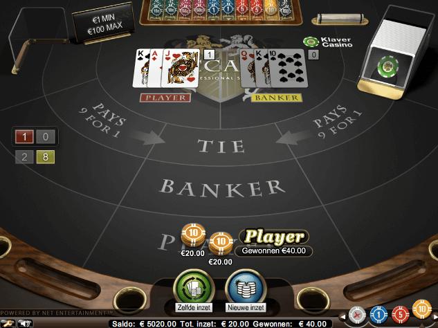 Baccara spielen im Online Casino