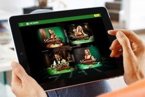 Live Casino-Auswahlmenü auf dem Tablet