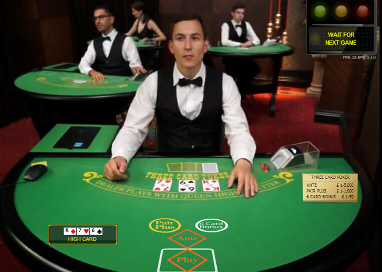 Live Casino Three Card Poker Live-Croupier