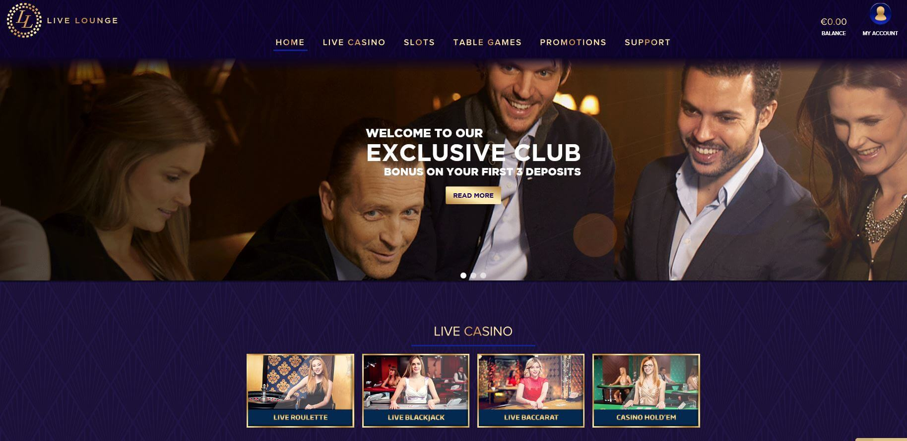 Live Lounge Casino Homepage