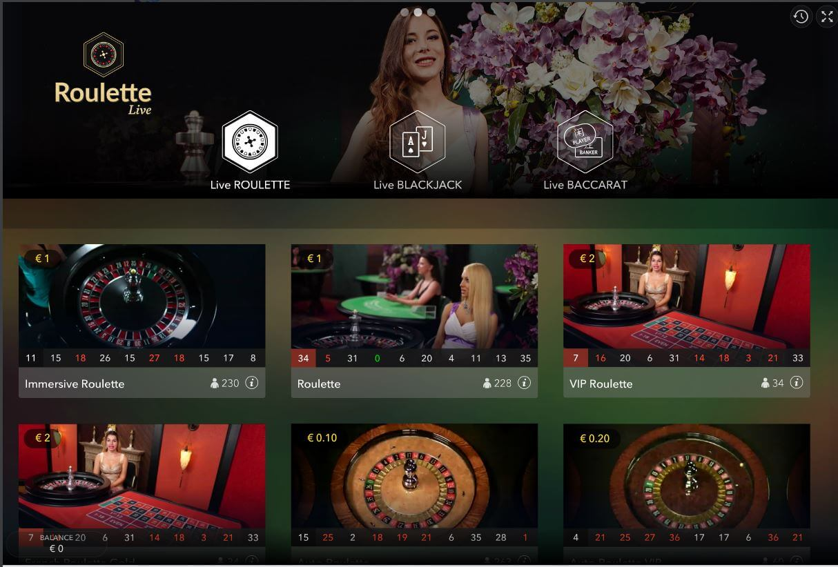 Lobby Evolution Gaming Live Casino Karamba Review