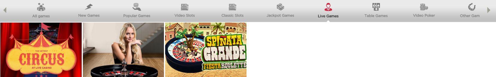 spinit-live-casino-menü