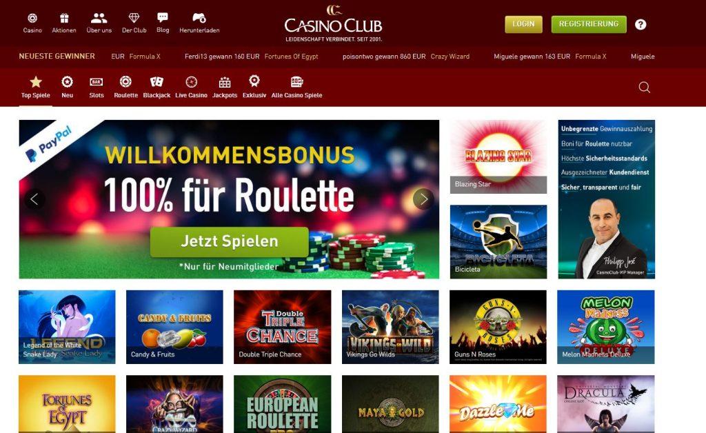 Die Homepage von Casinoclub.com sieht praktisch aus