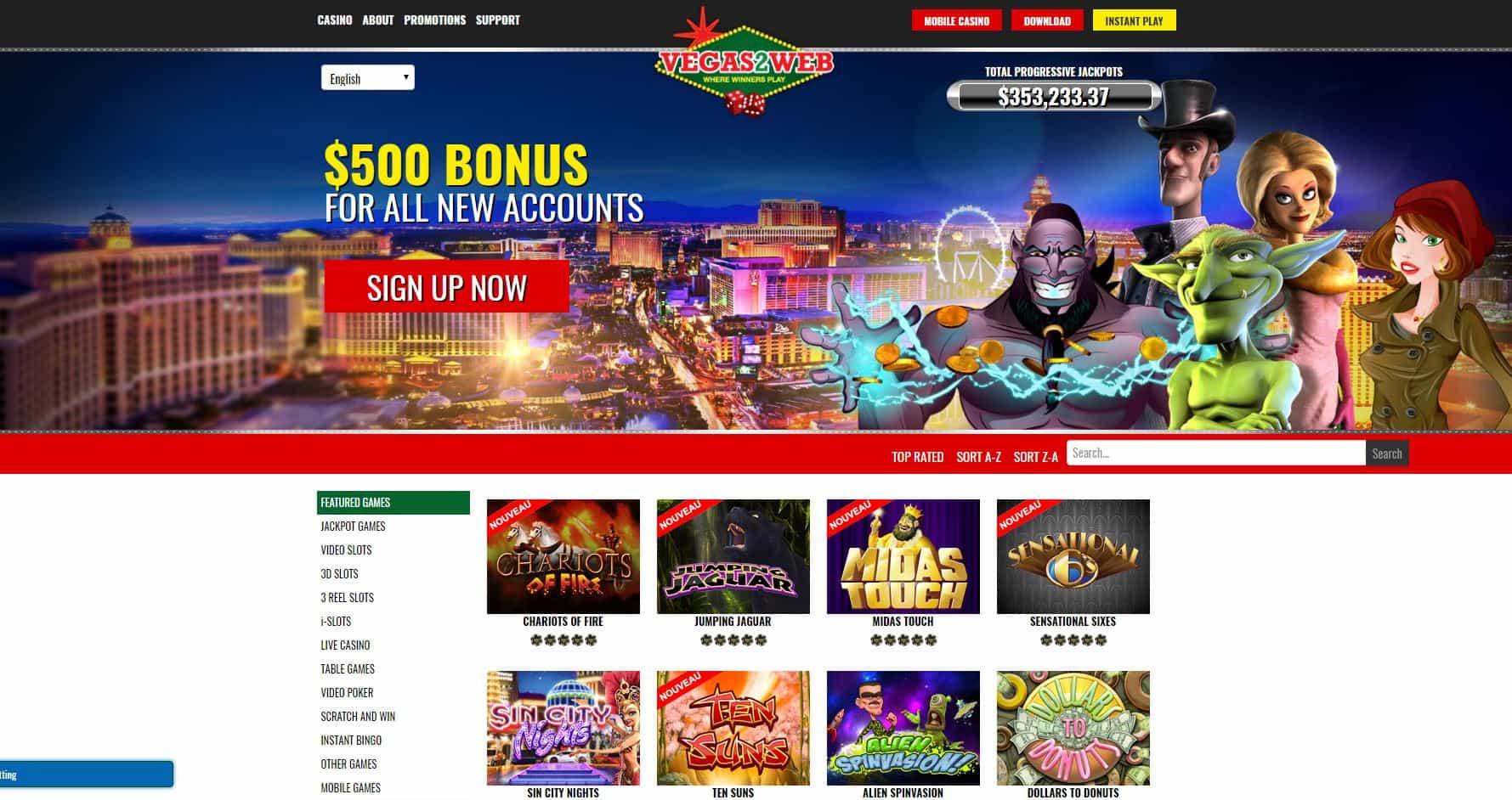 Vegas2web homepage