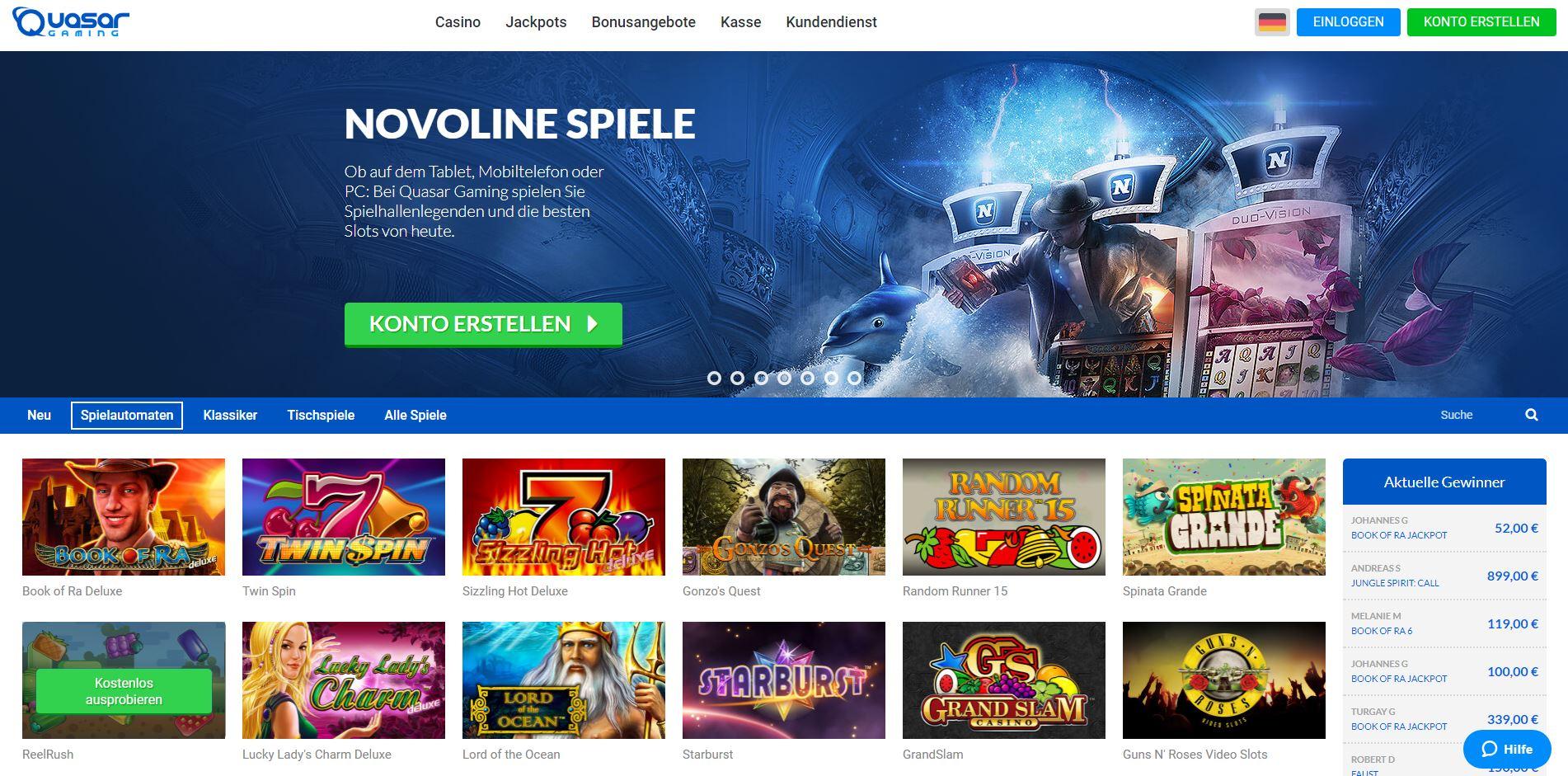 Quasar Gaming Startseite