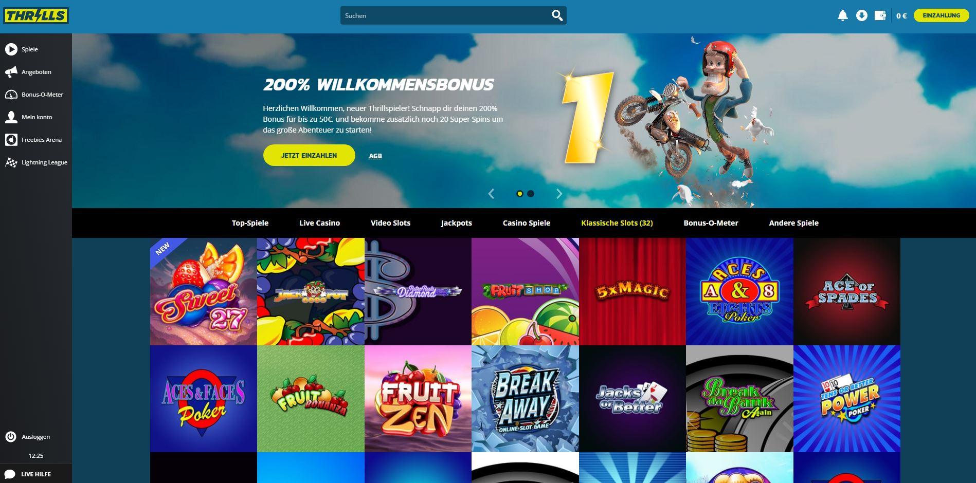 Thrills Casino Homepage