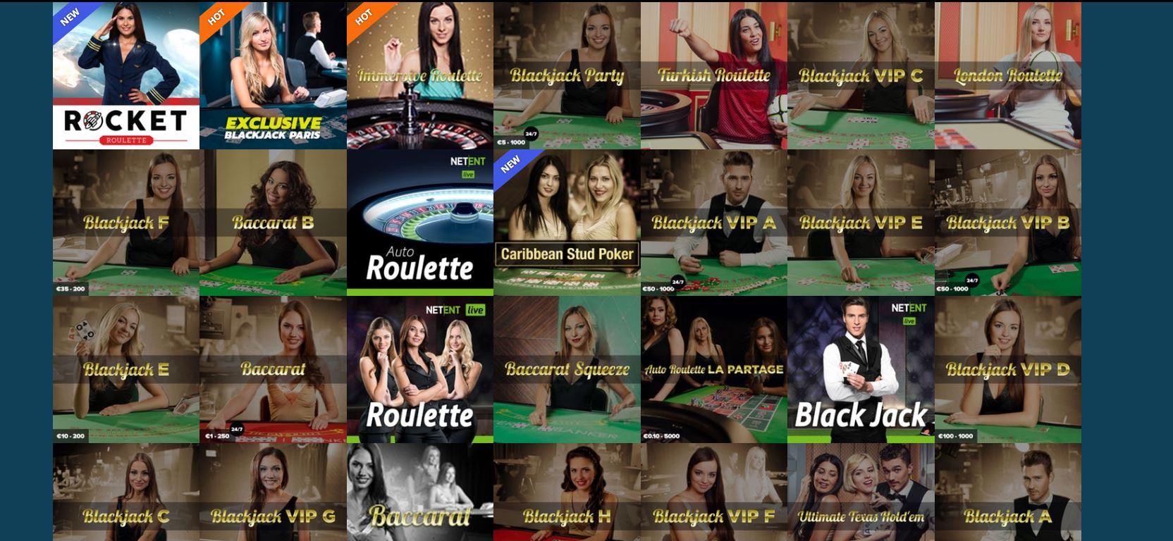 Thrills Casino Live Casino Angebot
