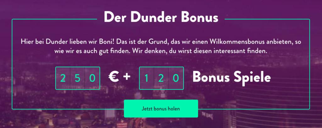 dunder welcome bonus